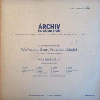 Georg Friedrich Händel, Berliner Philharmoniker, Fritz Lehmann - Wassermusik (Orchester-Konzert Nr. 25) (LP, Mono, Rec)