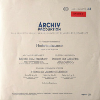 Michael Praetorius ‧ Erasmus Widmann ‧ Johann Hermann Schein ‧ Collegium Terpsichore - Daentze Aus